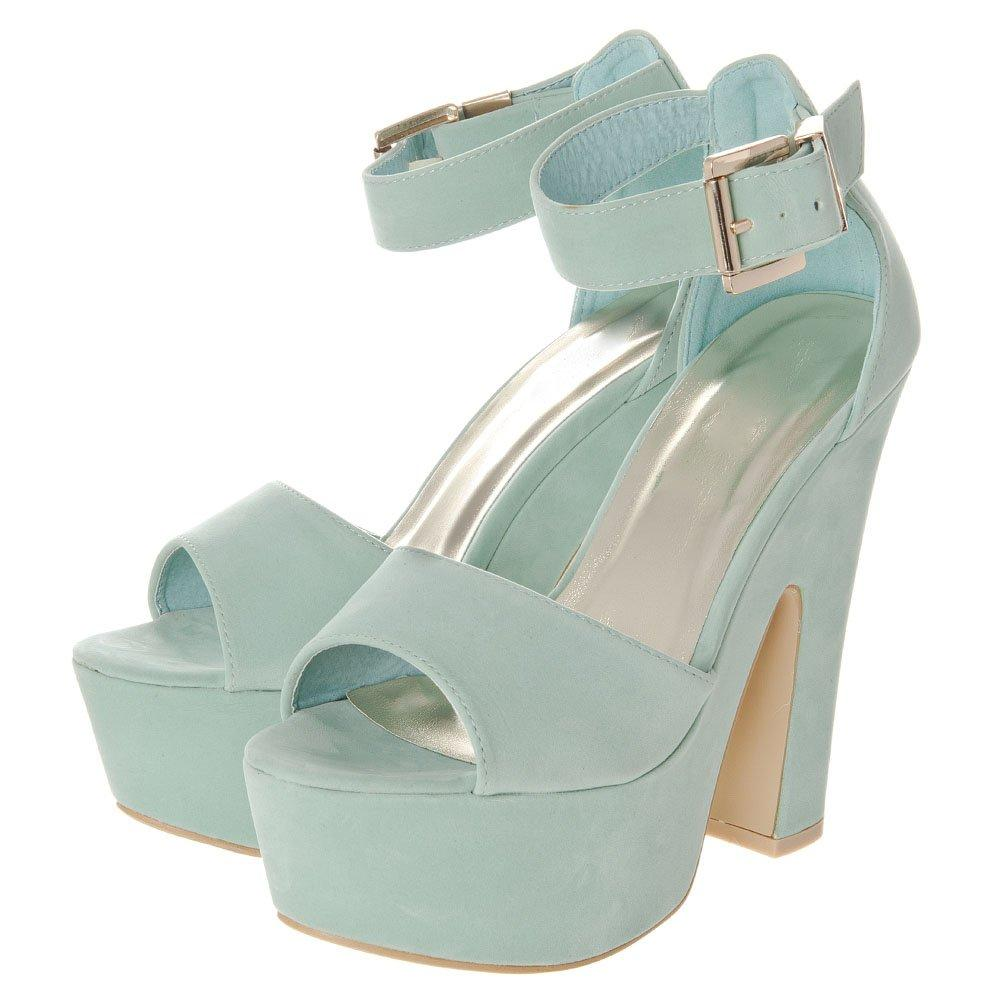 Block Heel Ankle Strap Platform Sandal With Peep Toe