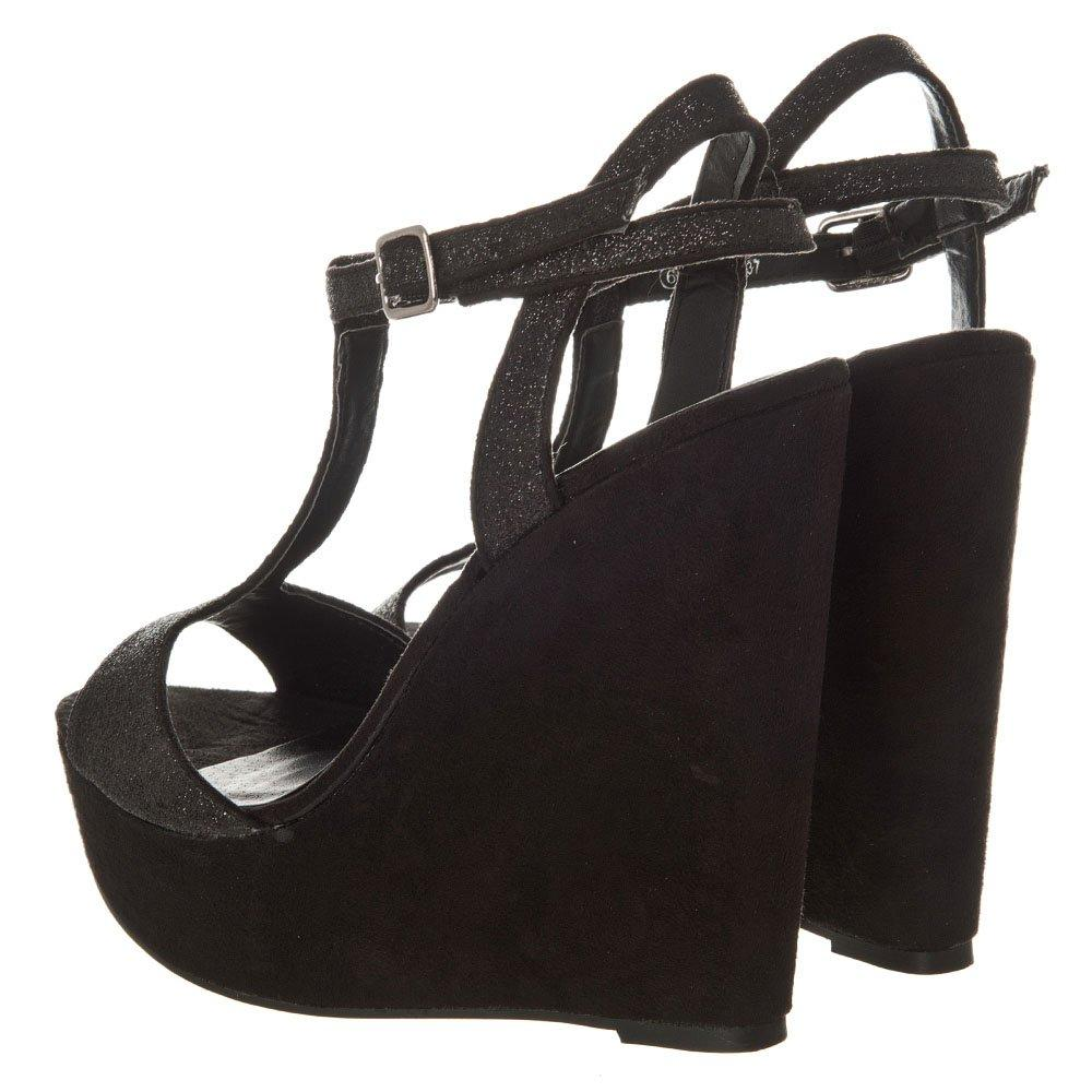 High Heel T-Bar Wedge With Ankle Strap