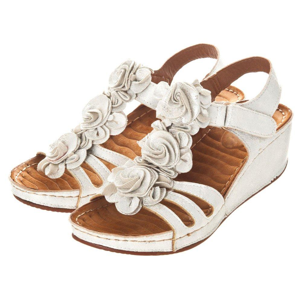 low Heel Wedge Sandal Flower Strap