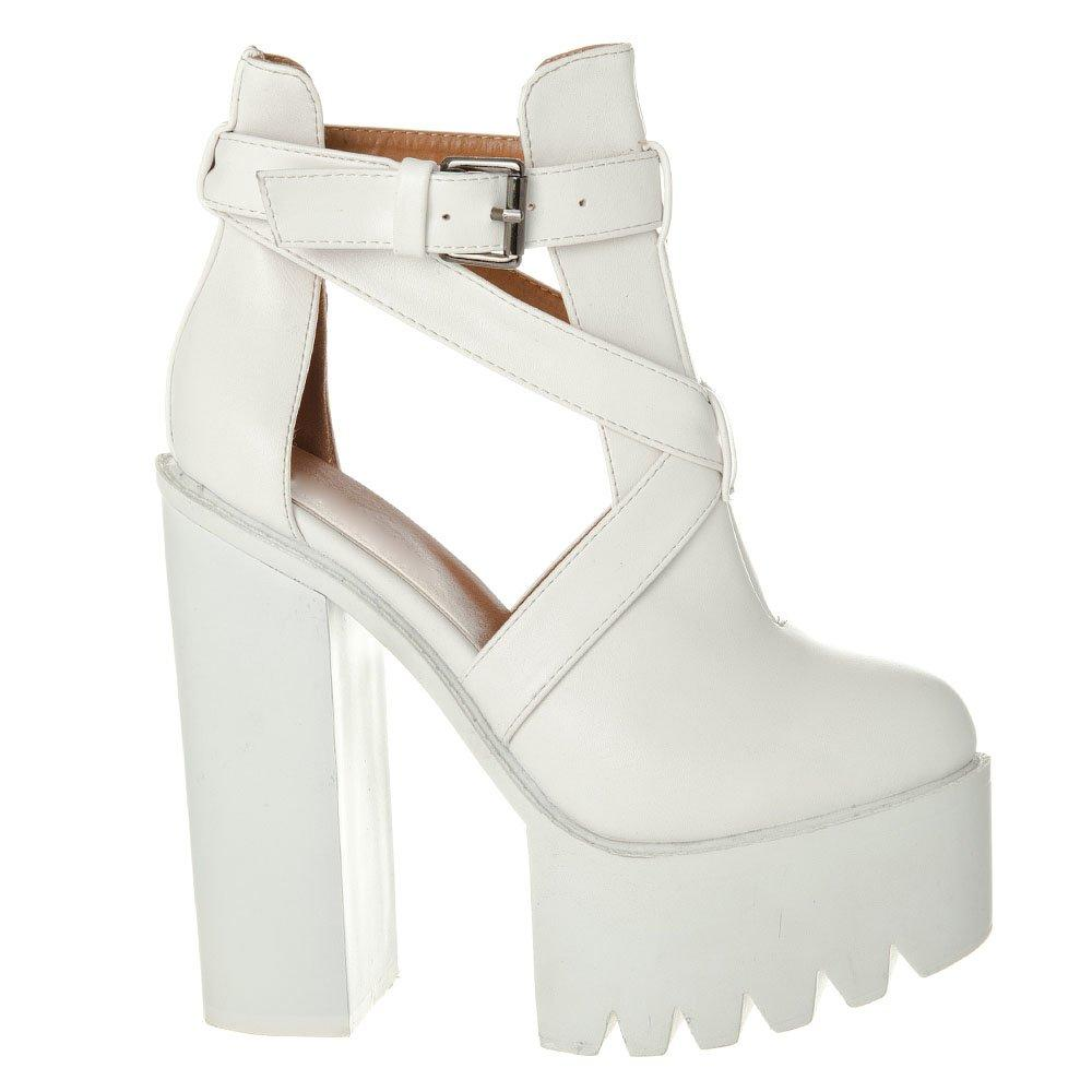 High Heel Cleated Sole Platform Shoe Boot