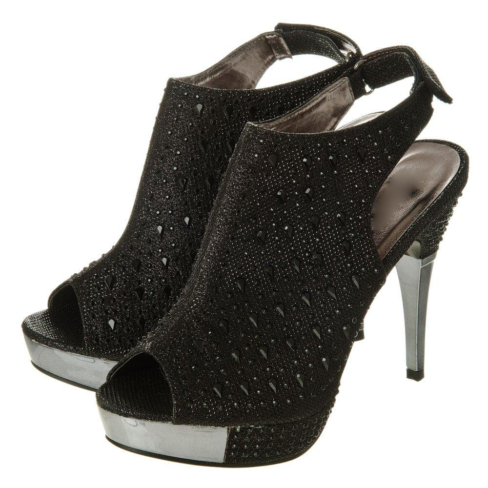 High stiletto heel with peep toe and sling back