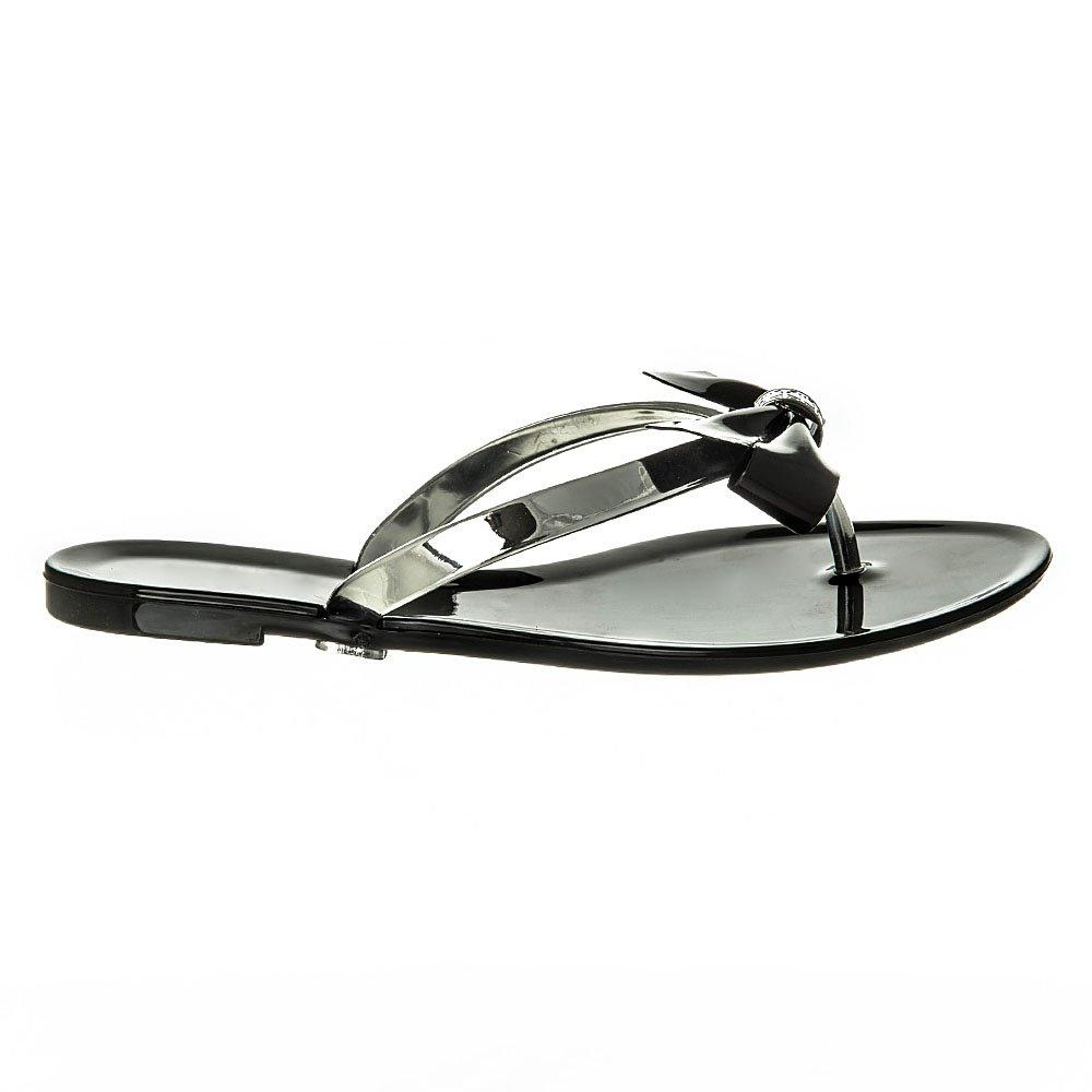 Flat Jelly Toe Post Sandal With Bow