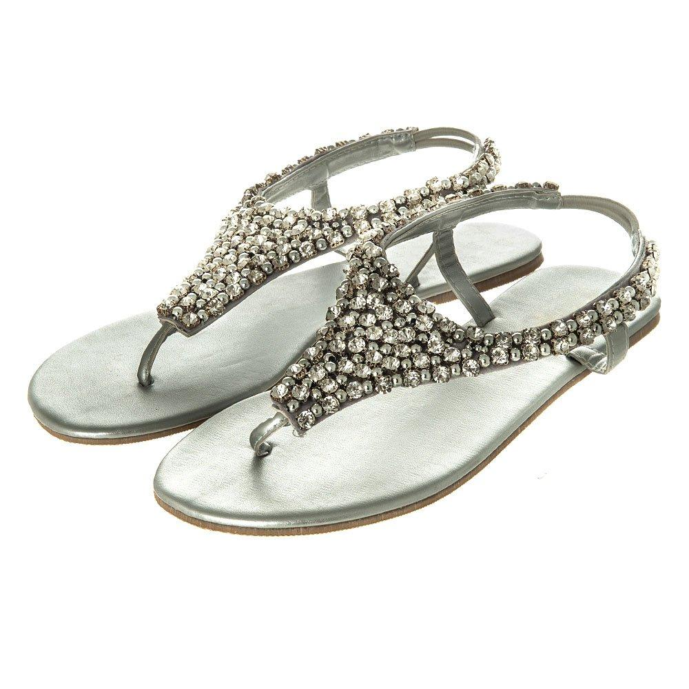 Flat Sling Back Jeweled Toe Post Sandal