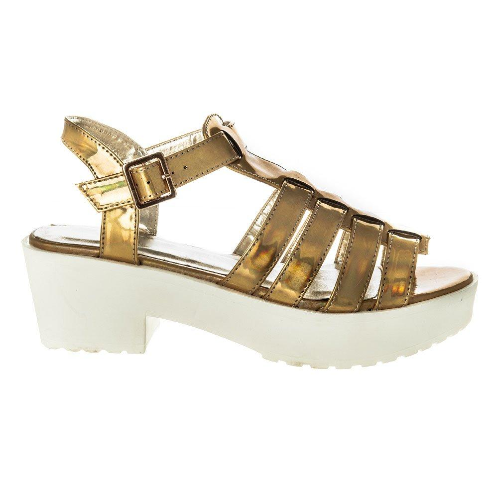 Medium Blocked Heel Gladiator T-Bar Sandal