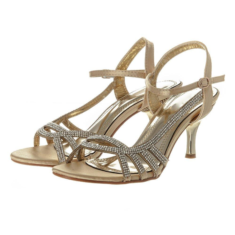 Medium Heel Open Toe  Ankle Strap Diamante Sandal