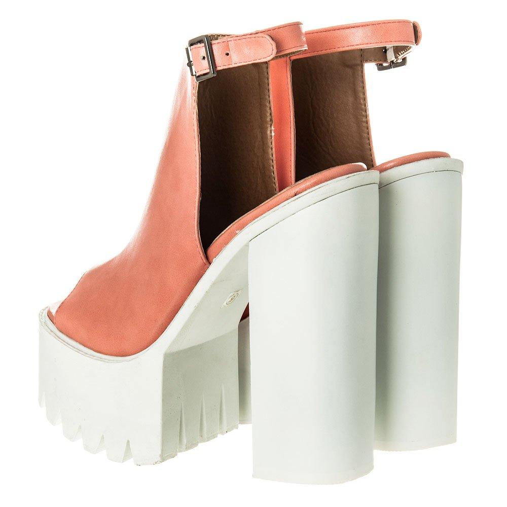 High Block Heel Cleated Platform Sole Shoe