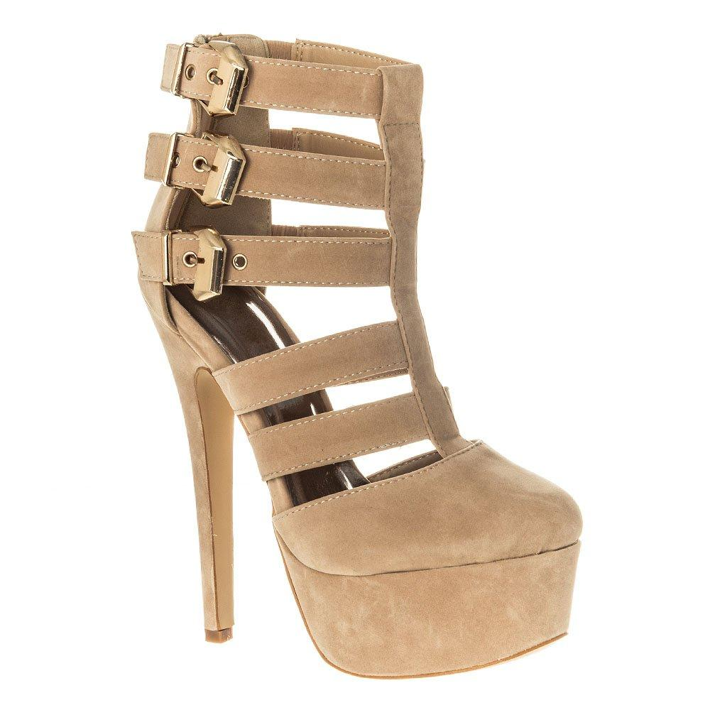 High Heel Platform Gladiator Style Closed Toe Shoe