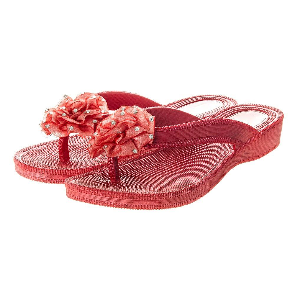 Low Wedge Jelly Flip Flop Sandal With Ruffled Flower