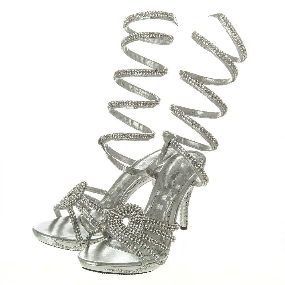 High Heel Diamante Open Toe Slip On Sandal