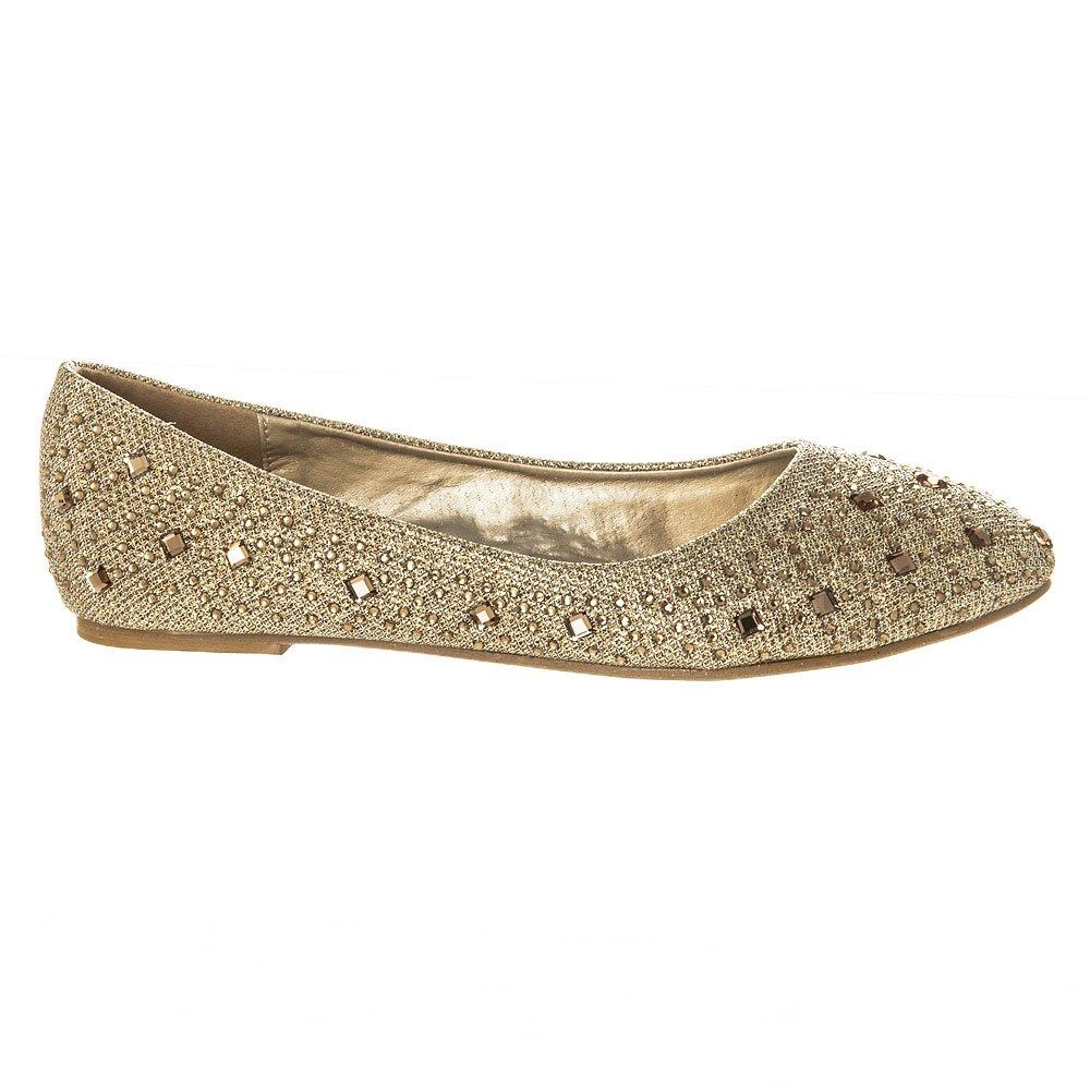 Flat Diamante closed toe decorative  ballerina pump