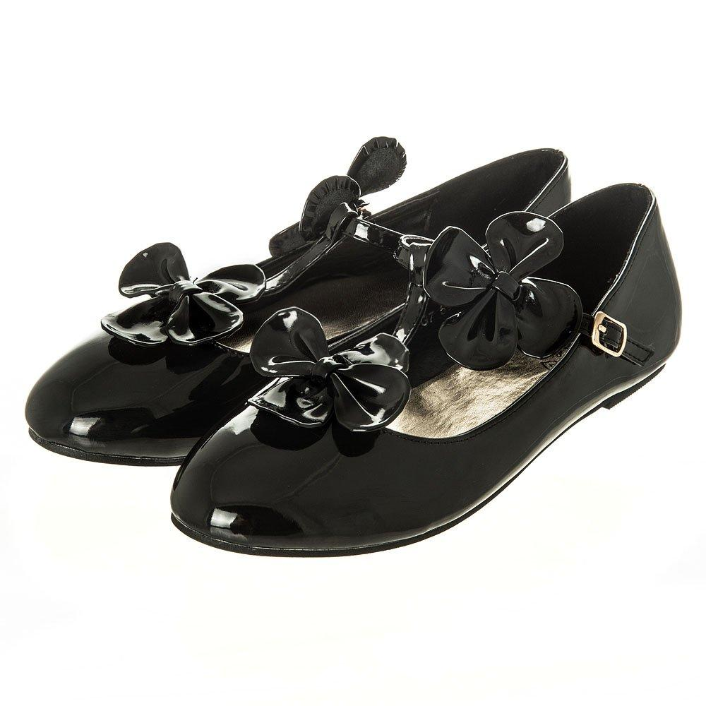 Flat Round Toe Black Patent T-Bar Shoe With Flower