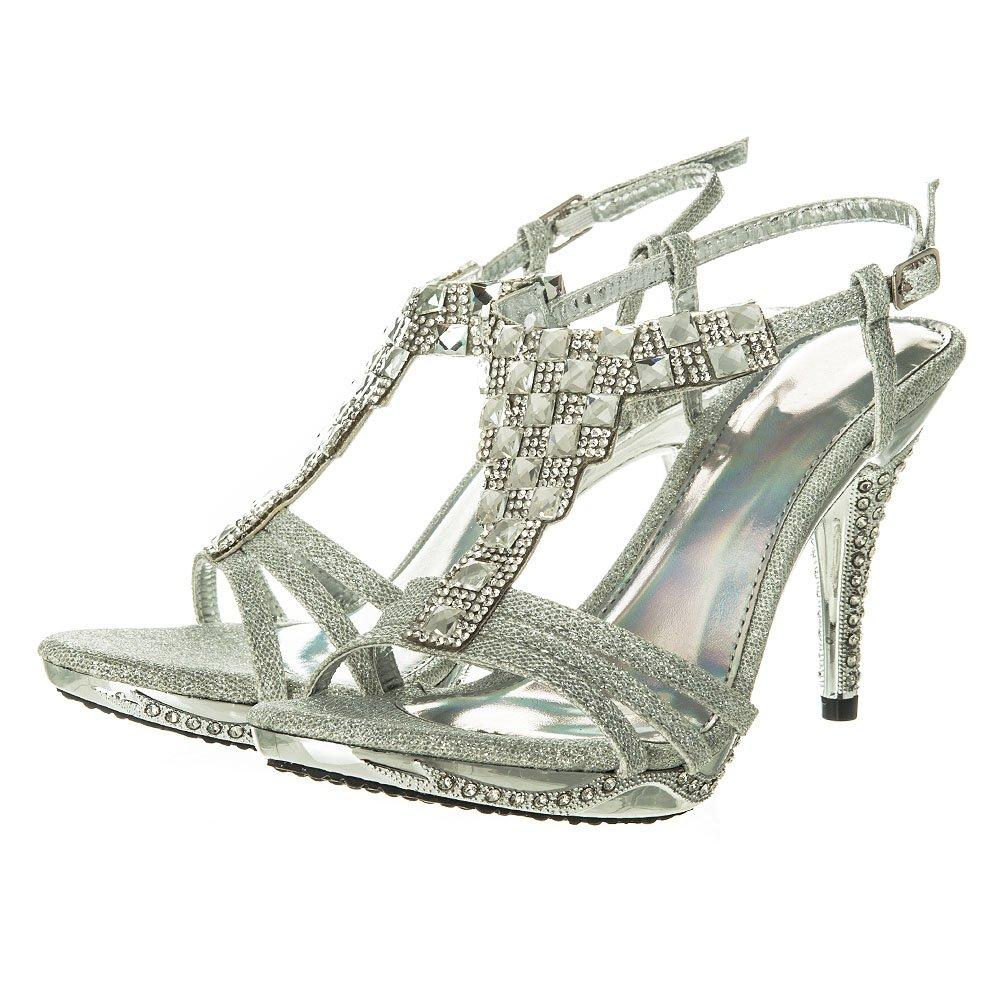 Medium Heel Jeweled Sling Back Sandal With Small Platform
