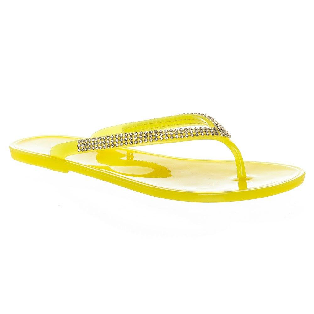 Flat Toe Post Diamante Jelly Sandal
