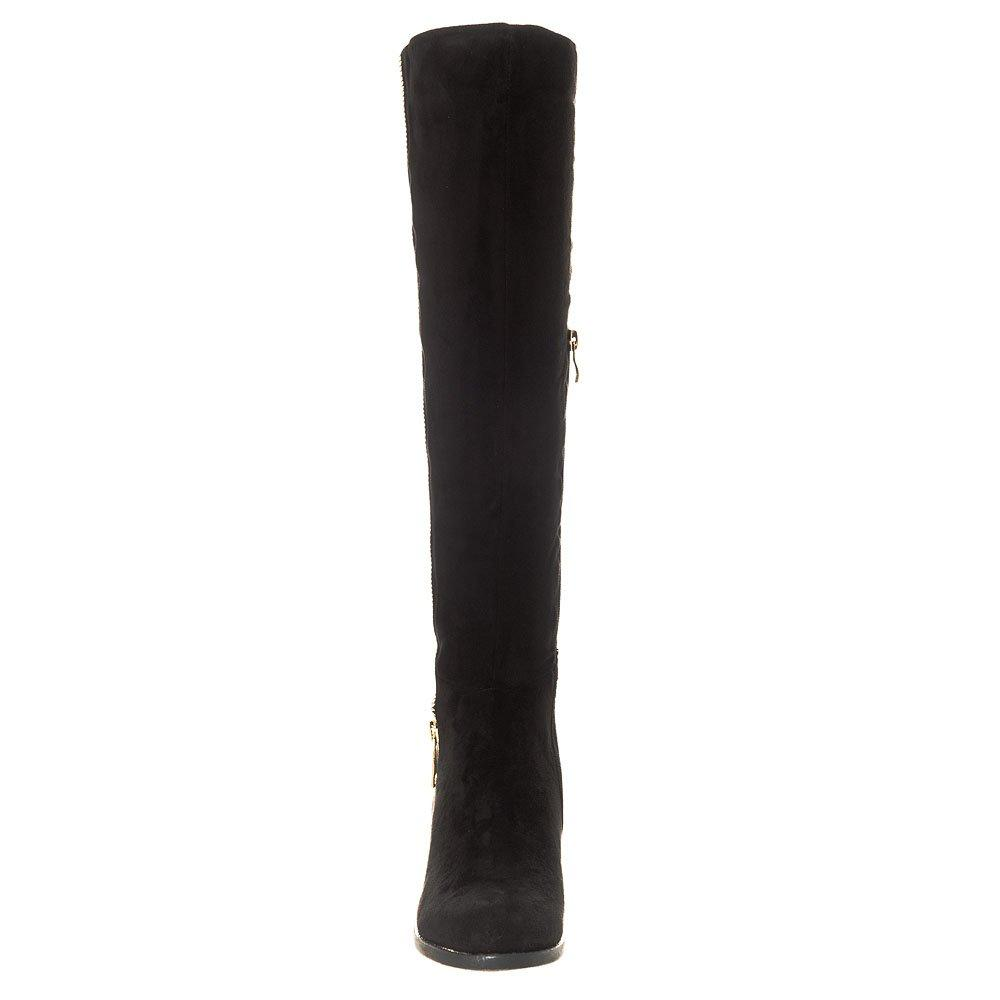 Low Block Heel Knee High Half Zip Boot