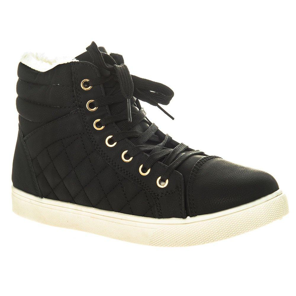 Fur Lined Quilted Hi Top Lace Up Trainers