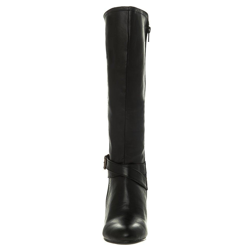 Medium Heel Wedge Knee High Boot With Zip