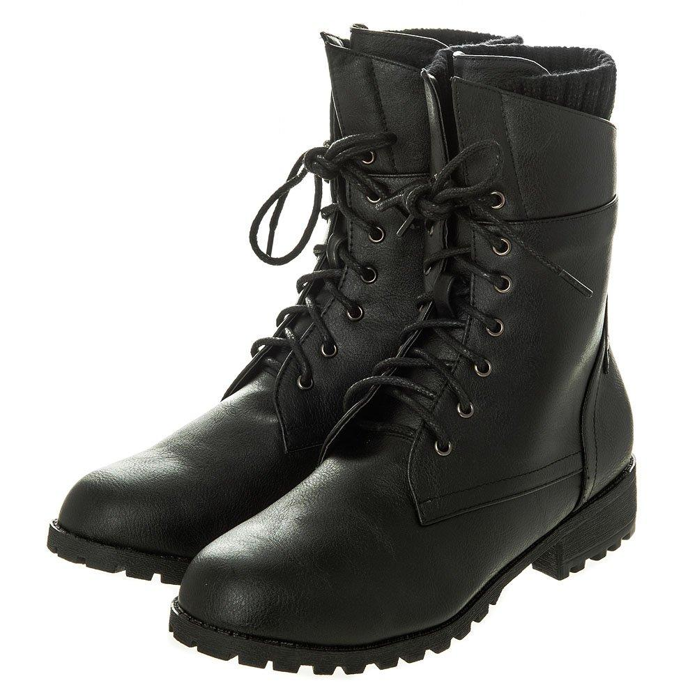 Flat Cleated Sole Lace Up Military Boot