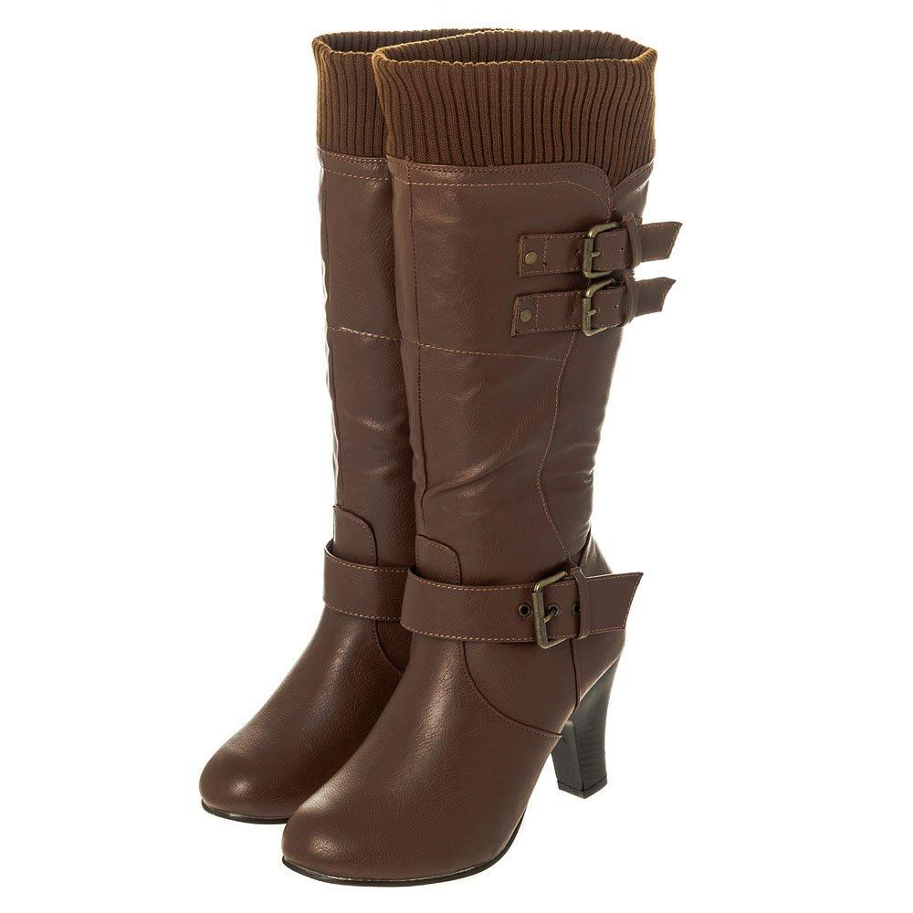 Medium Stacked Heel Knee High Two Buckle Boot