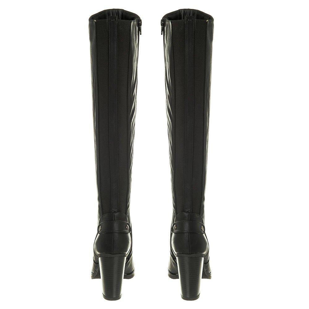 Knee High Stacked Block Heel Zip Boot With Elastic Panels