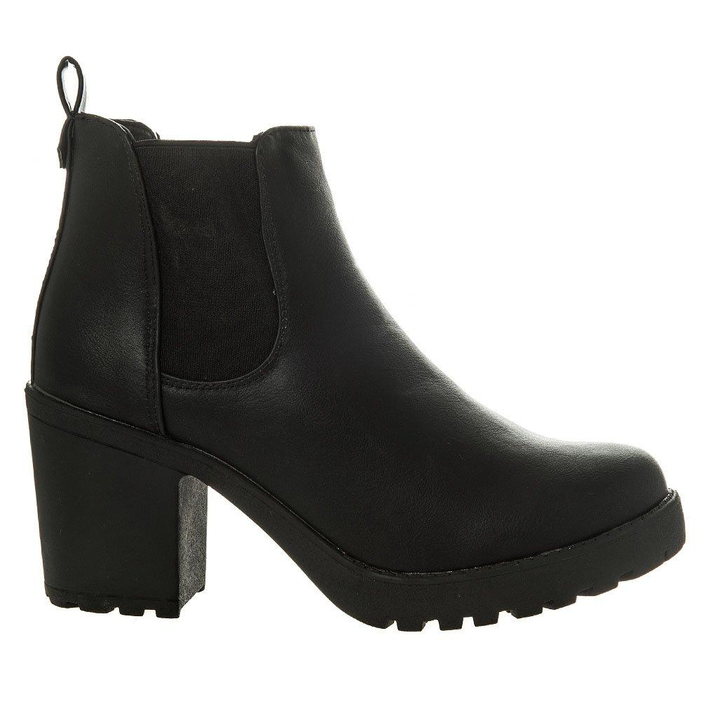 Block Heel Cleated Sole Platform Chelsea Boot With Elastic Panels