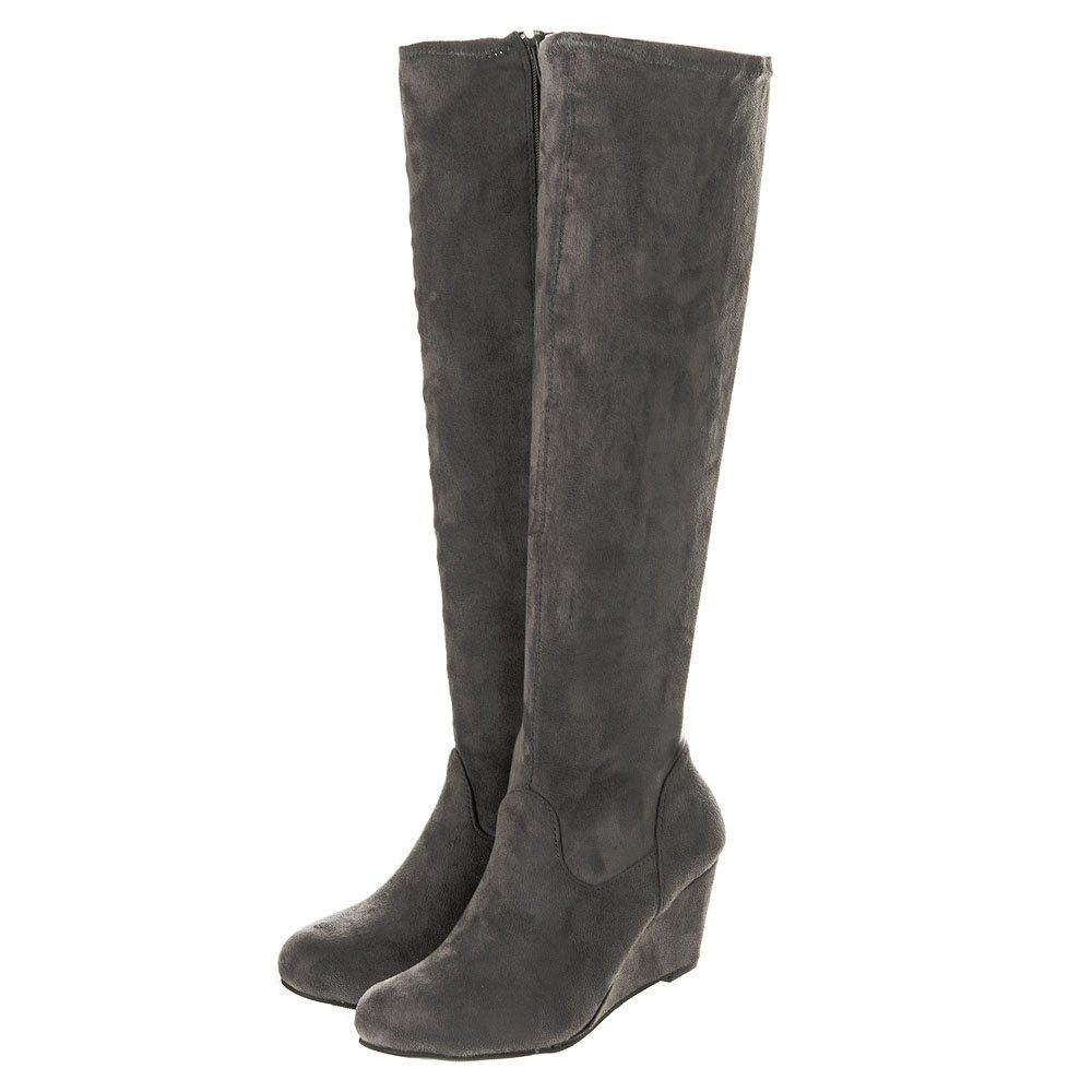 Knee-High Pull On Stretch Pu Wedge Boot