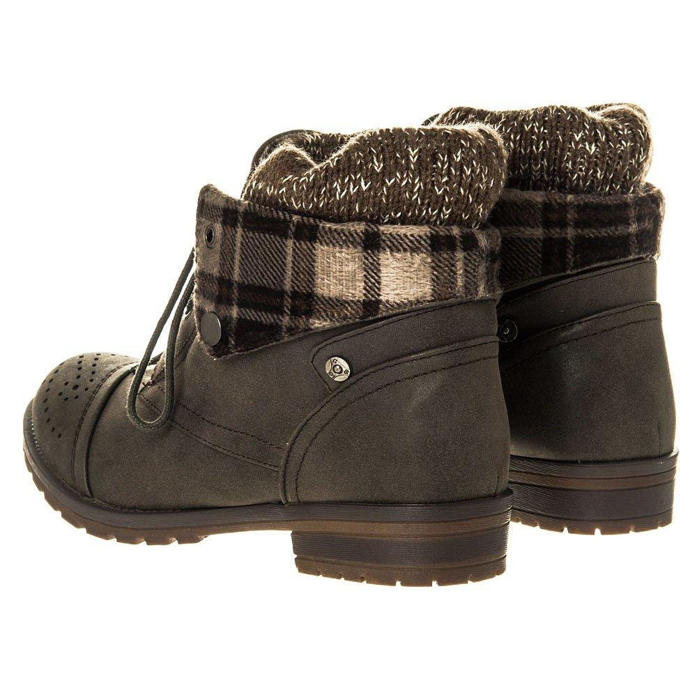Military Style Block Heel Cleated Sole Wool Trim Ankle Boot