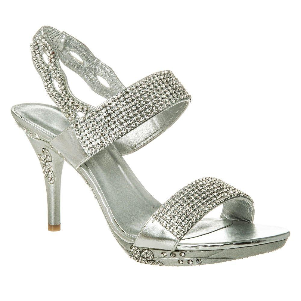 Medium Heel Sling back Platform Diamante Sandal