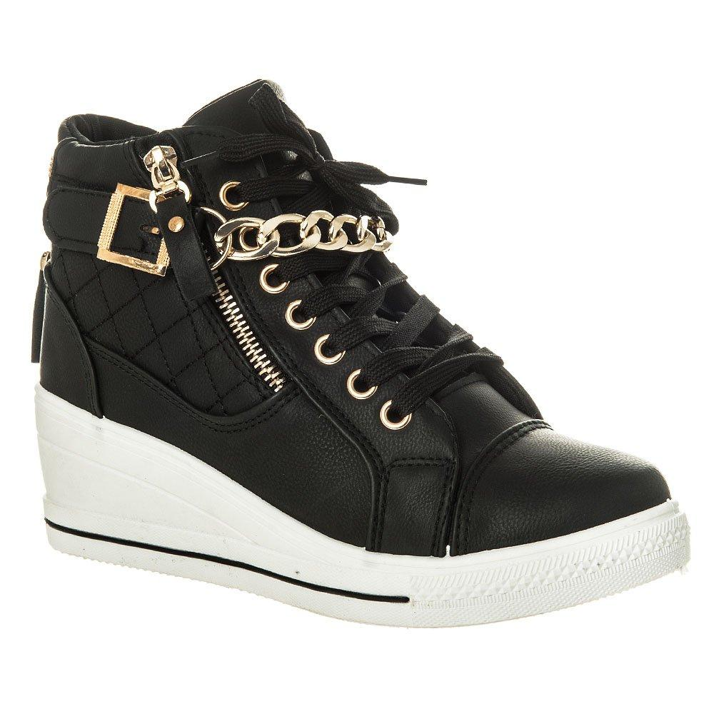 Hi Top Wedge Lace Up Trainer Gold Trim