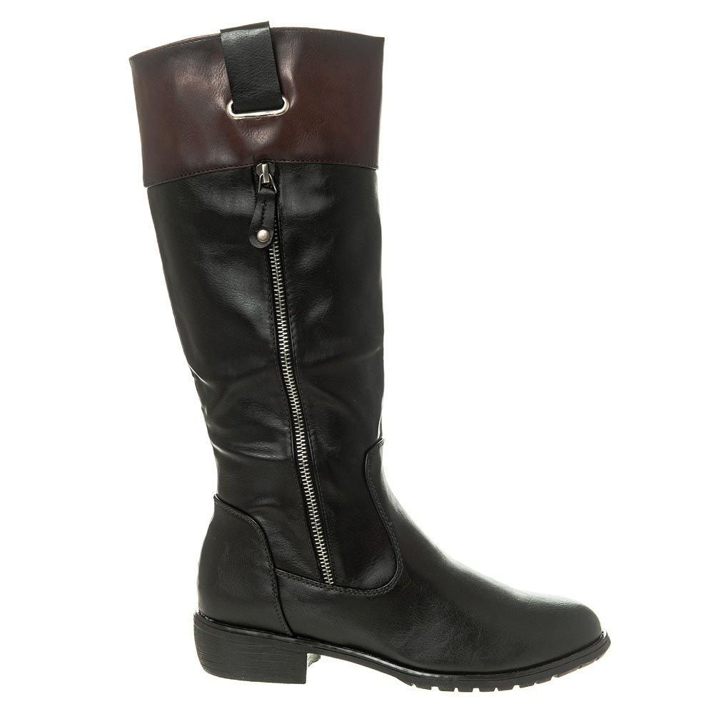Knee High Low Block Heel Cleated Sole Zip Boot