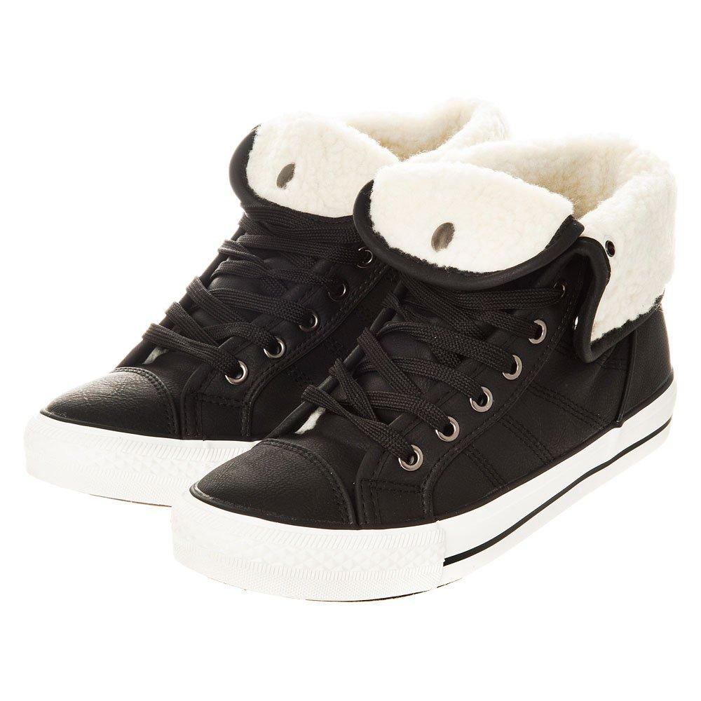 Flat Quilted Hi Top Lace Up Trainer