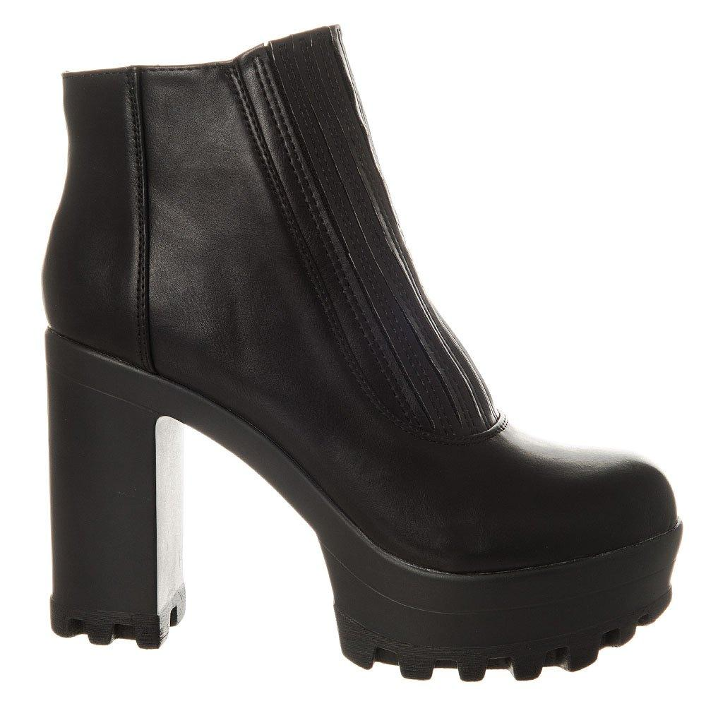 High Heel Chunky Cleated Sole Pull On Ankle boot