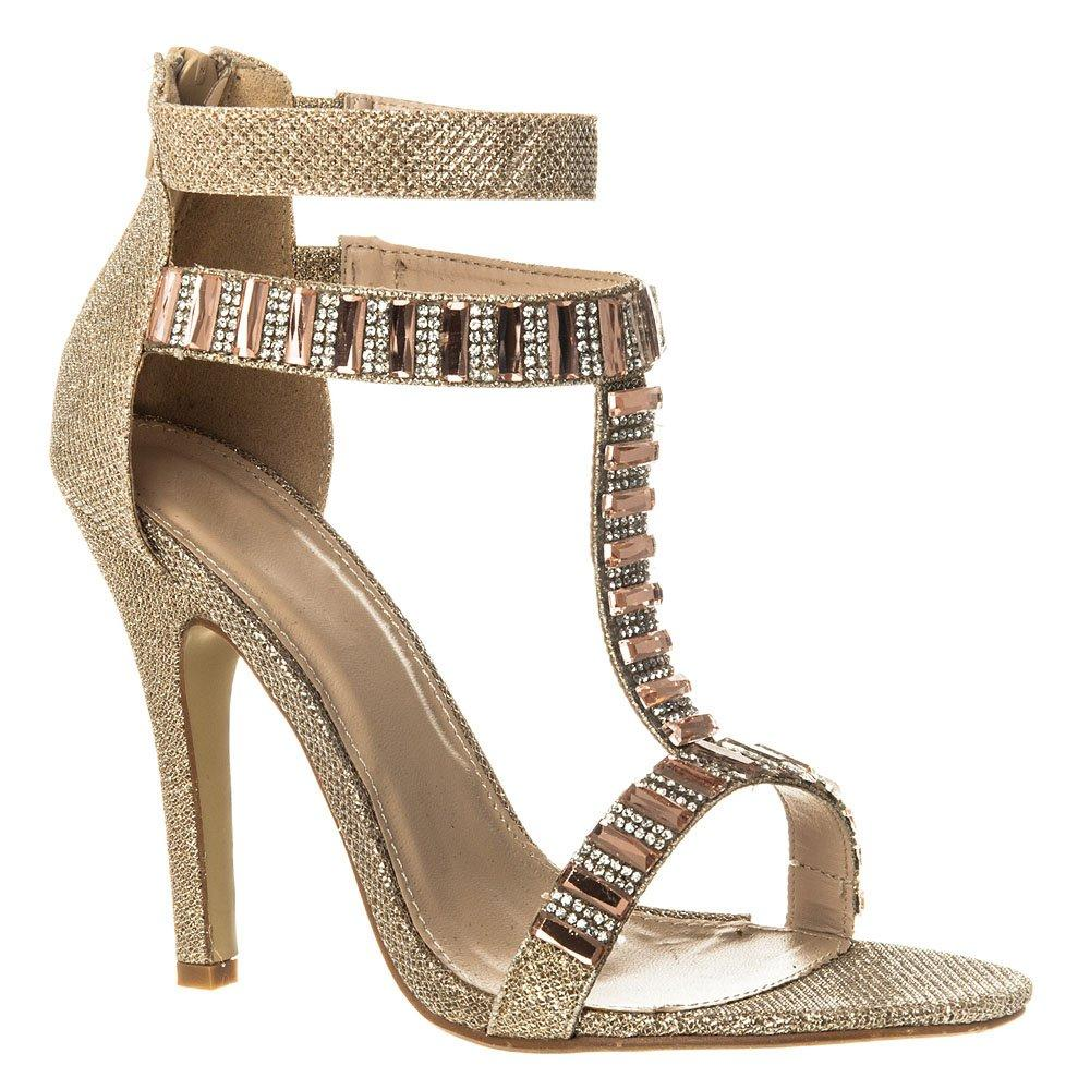 High Heel T-Bar Ankle Strap jeweled And Diamante Sandal