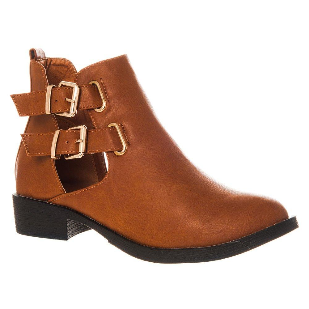 Flat Ankle Boot 2 Buckle Fastening Cut Out Sides