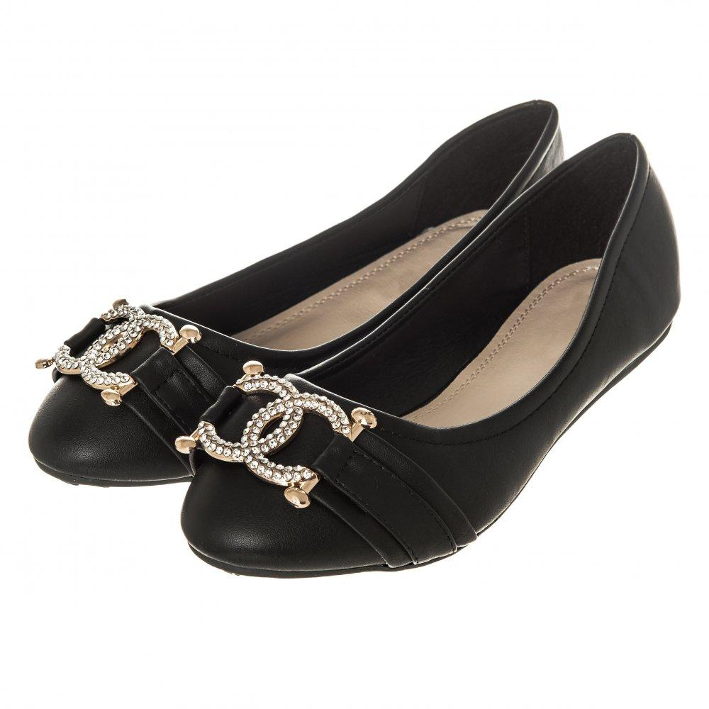 Flat Wedge Heel Ballerina Pumps With Diamante Brooch