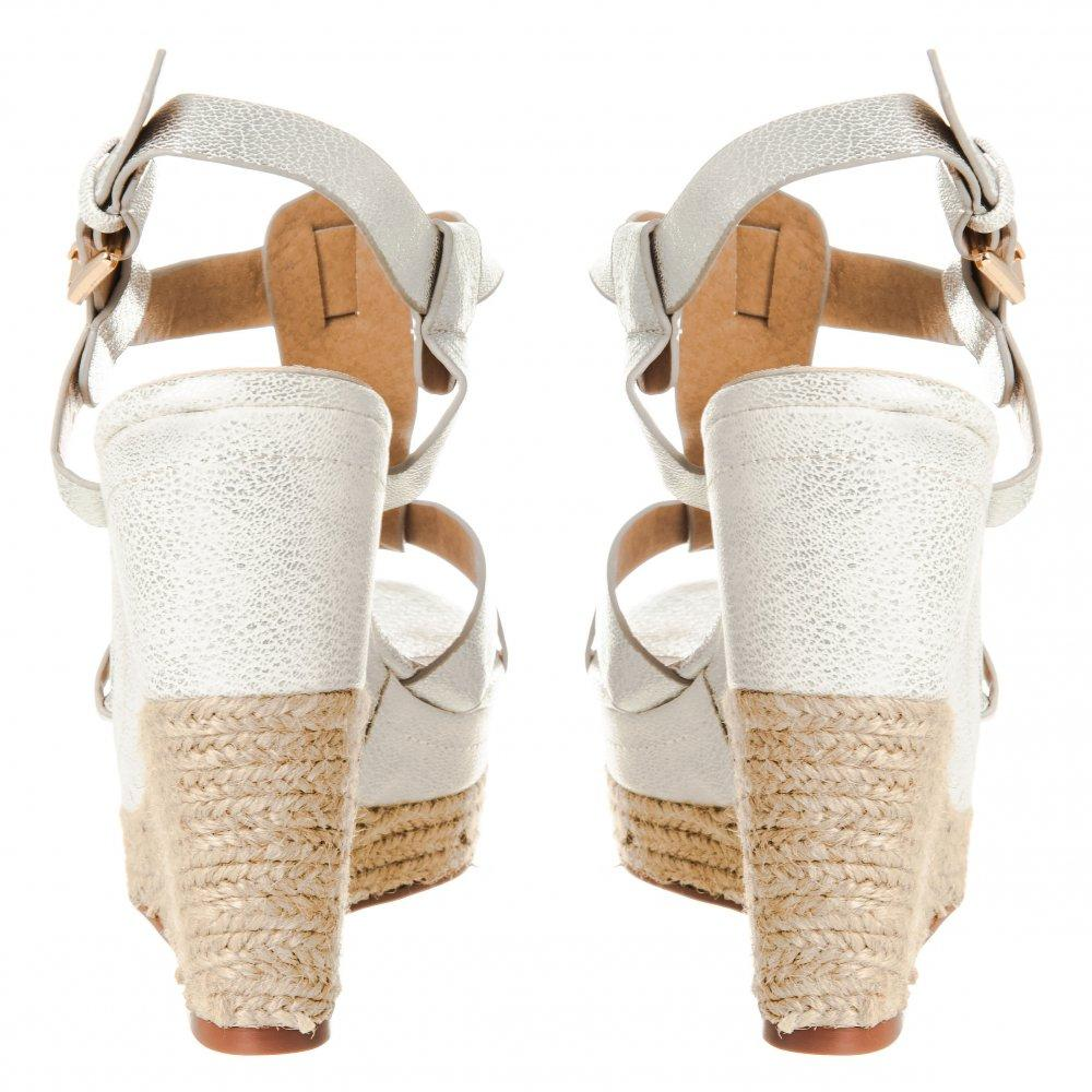 High Heel Wedge Espadrille Sandal with T-Bar And Ankle Strap With Platform