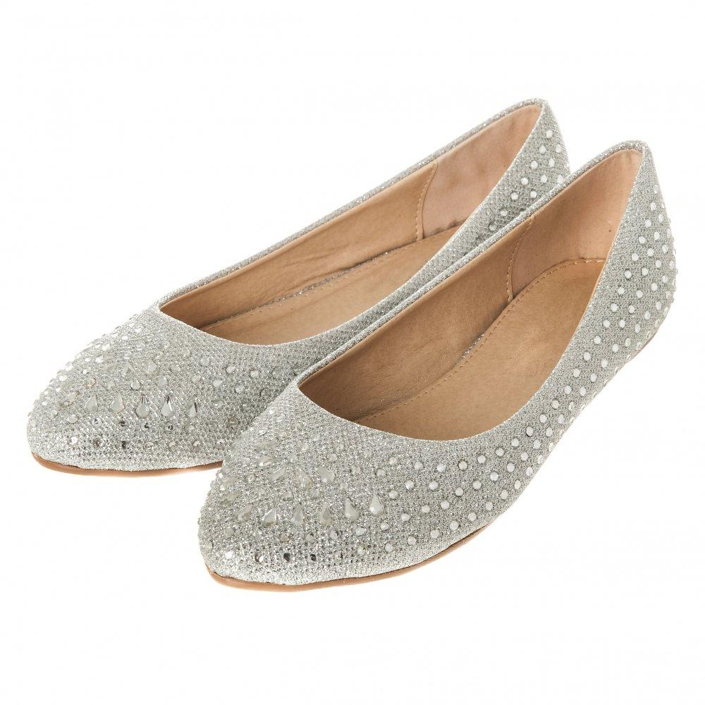 Flat Block Heel Soft Curved Toe Diamante Shoe