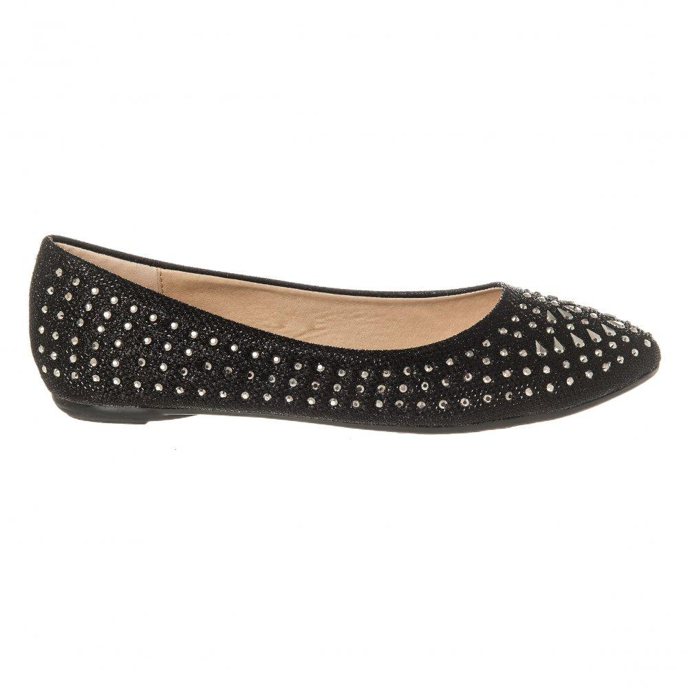 Flat Ballerina Shoe With Cut Out Sides And Coloured Stones