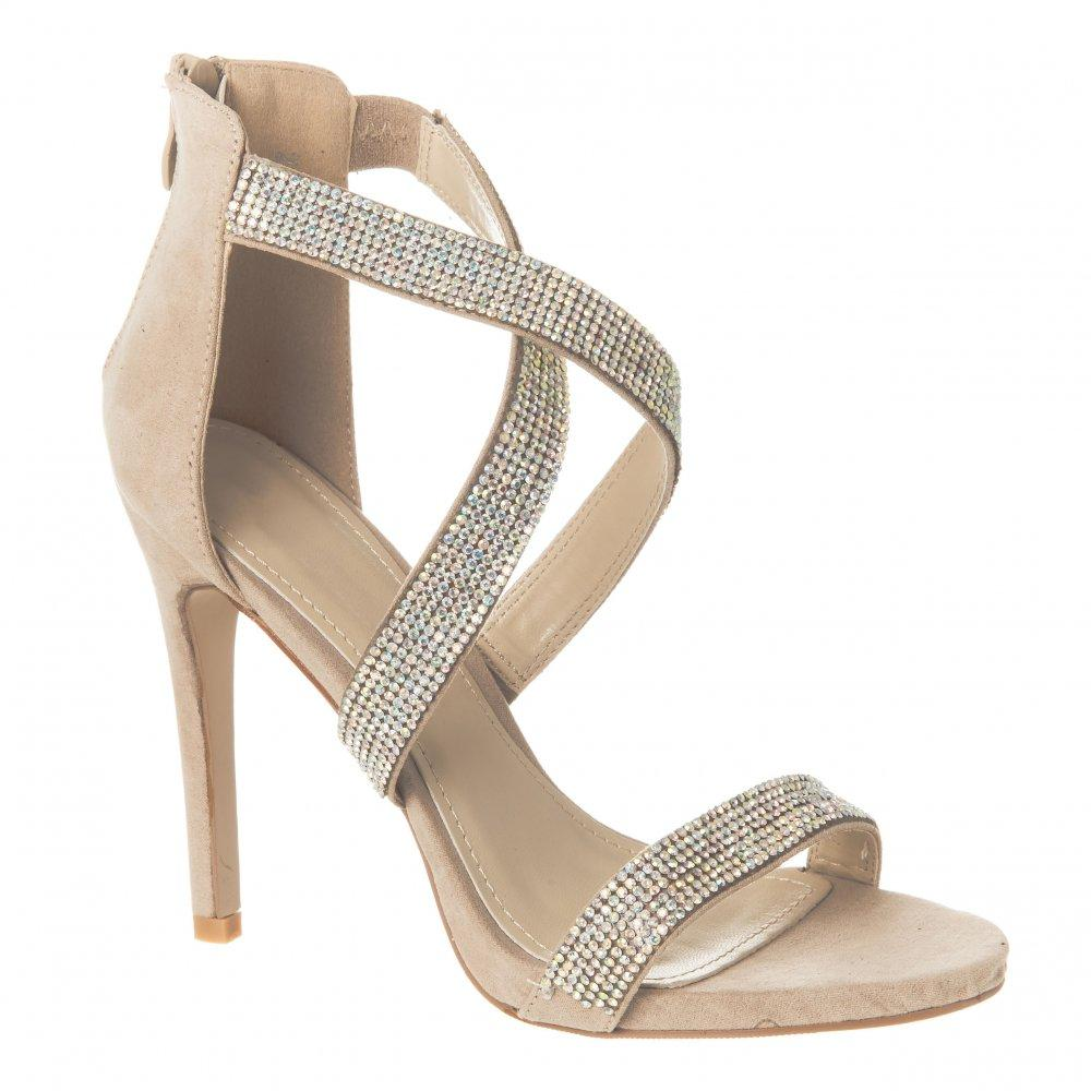 High Heel Open Toe Sandal With Small Coulored  Stones