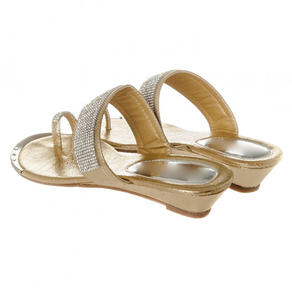 Low Wedge Mule Toe Ring Single Strap Sandal