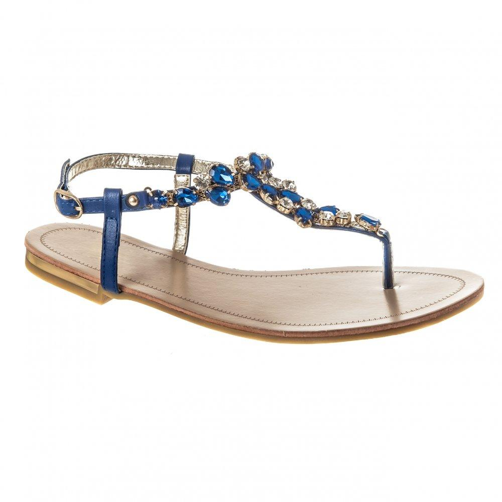 Flat Block Heel Jewelled  Toe Post Sandal With Buckle Ankle Strap