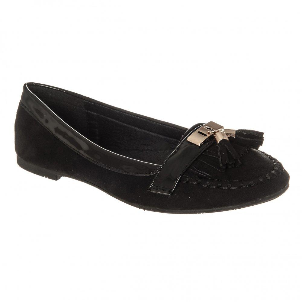 Flat Gold Trim Tasseled Loafer In a Suedette