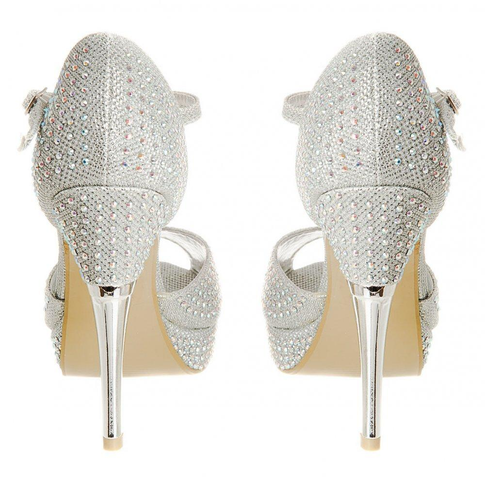 Open Toe Diamanté Ankle Strap Platform  Shoe