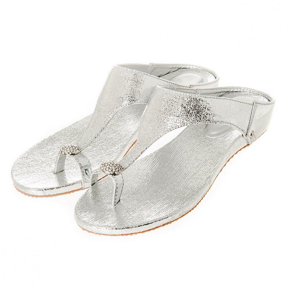 Flat Wedge Mule Sandal With Diamante Toe Ring