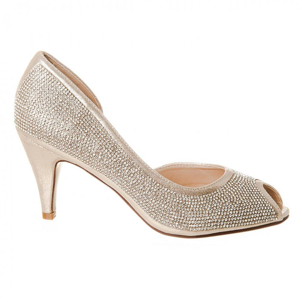 Medium Heel Open Toe Cut Out Side Diamante Shoe