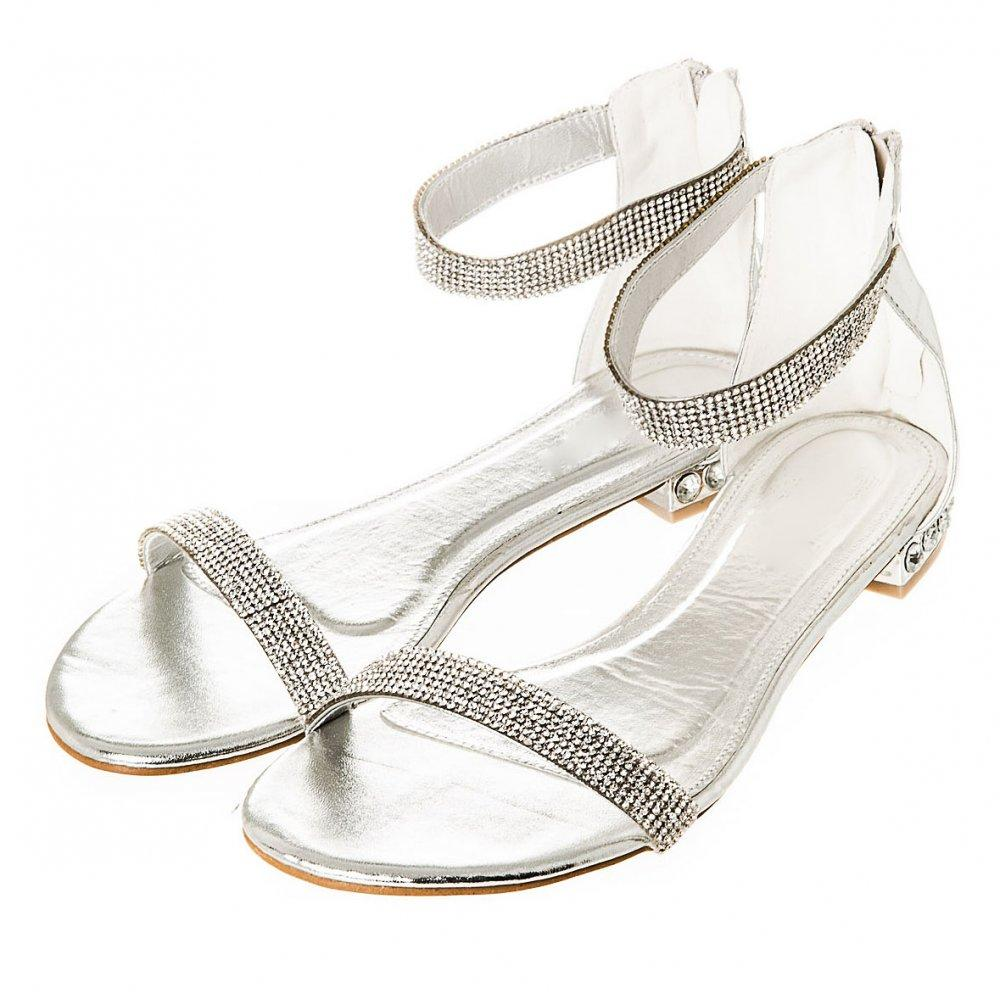 Flat Diamanté Ankle Strap Sandal With Zip Back