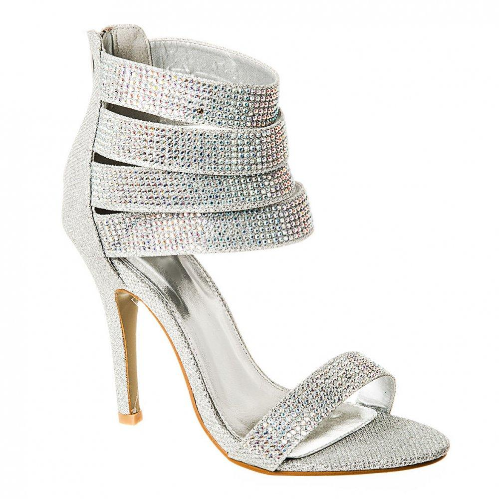 Open Toe Diamanté Sandal With Multi Ankle Straps And Back Zip