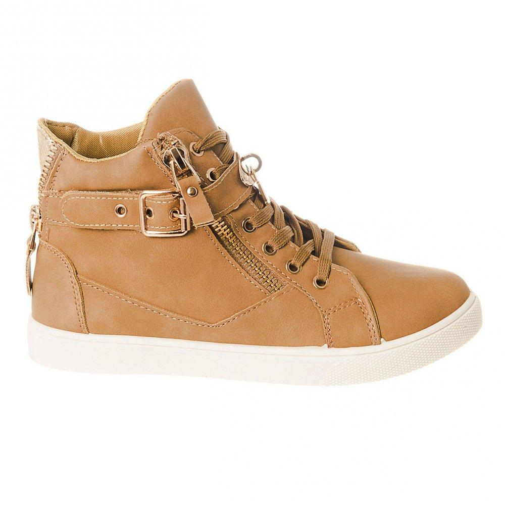 Flat Lace Up White Sole Hi-Top Trainer