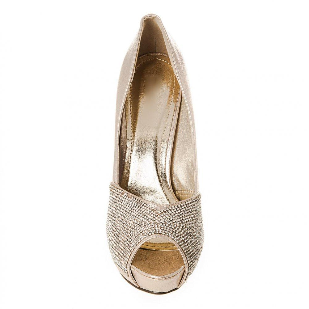High Heel Open Toe Platform Diamante Shoe