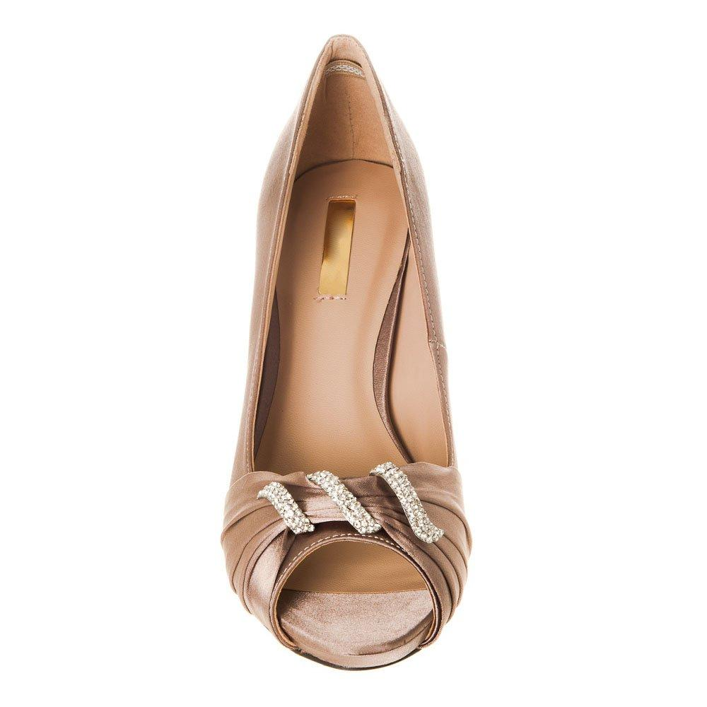 Medium Slim Heel Open Toe Satin Shoe