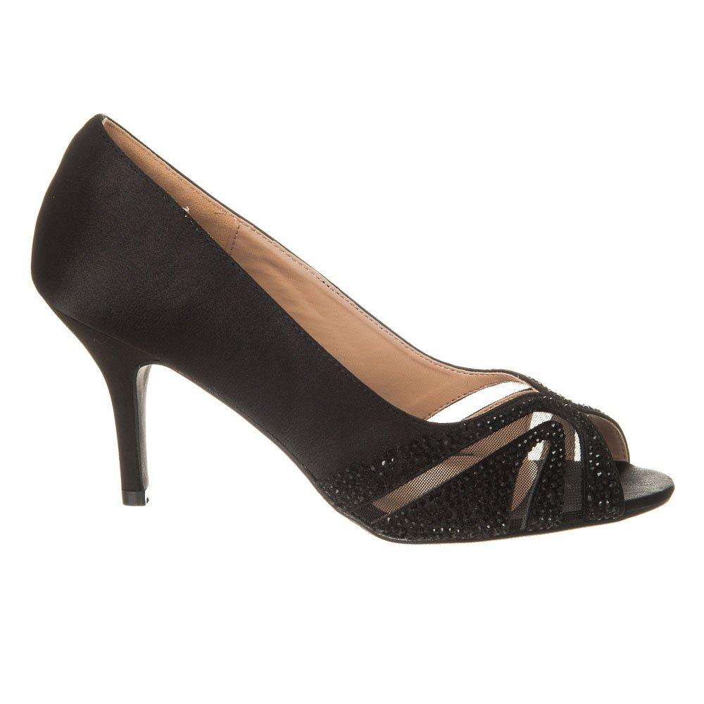 Open Toe Medium Heel Satin Shoe